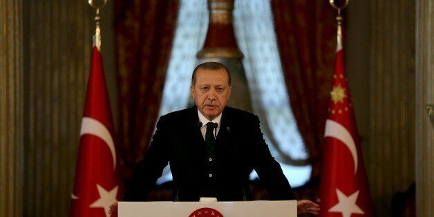 ISTANBUL, TURKEY - OCTOBER 20: President of Turkey Recep Tayyip Erdogan holds a press conference after...