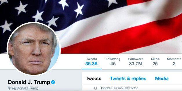 The masthead of U.S. President Donald Trump's @realDonaldTrump Twitter account is seen on July 11, 2017....