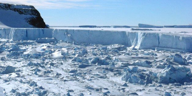 A view of an iceberg that just separated from the Larsen B ice shelf and floating into the northwest...