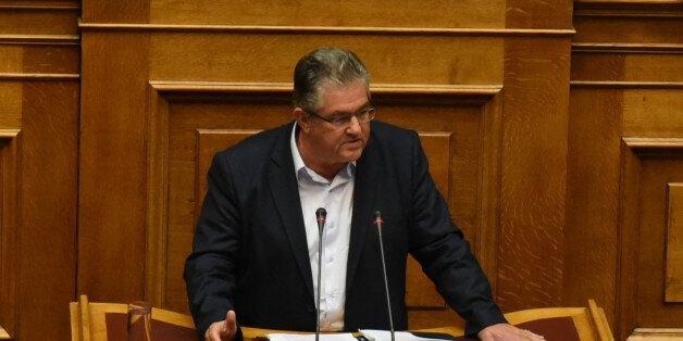 Dimitris Koutsoubas, Secretary General of the Communist Party of Greece, KKE during parliamentary dispute...