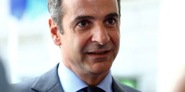 President of the Greek liberal-conservative New Democracy party Kyriakos Mitsotakis speaks to the press...