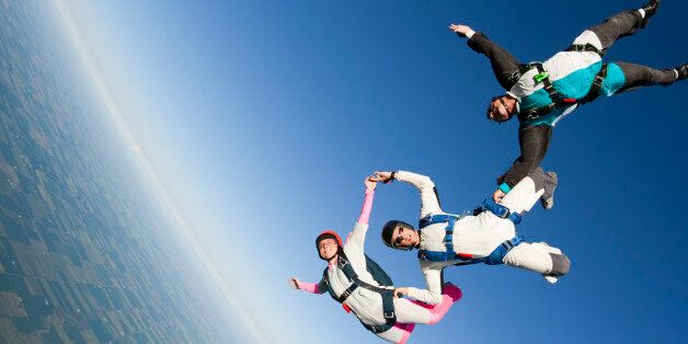 Three skydivers in formation in freefallCheck out more of my skydiving images and
