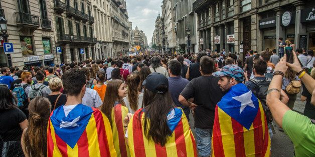 BARCELONA, CATALONIA, SPAIN - 2017/10/03: Independence youth marching down on Via Laietana to the Parliament...