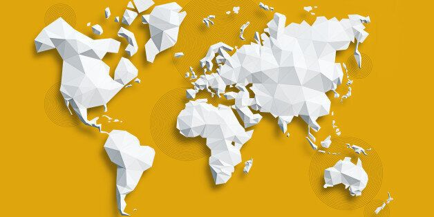 Low poly white Map of World on yellow