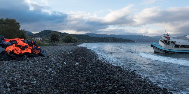 Lesbos, Greece - October 25, 2015: The migrants have moved on, but on a beach in Molyvos, on the north...