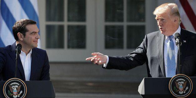 WASHINGTON, DC - OCTOBER 17: U.S. President Donald Trump (R) and Greek Prime Minister Alexis Tsipras...