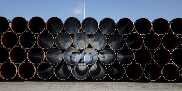 Pipe sections for the Trans Adriatic gas pipeline sit on the dockside at the cargo port of Alexandroupolis,...