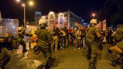 Συλλαλητήριο ενάντια στο συνέδριο «Thessaloniki Summit» την ώρα της ομιλίας του Αλέξη
