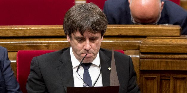 Carles Puigdemont, president of the Catalan government, declares the republic and independence of Catalonia,...