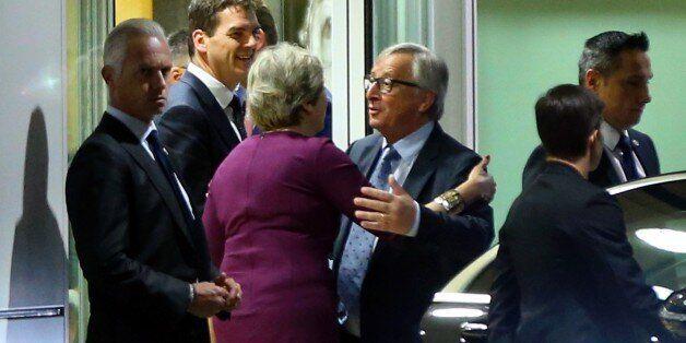 BRUSSELS, BELGIUM - OCTOBER 16: European Commission President Jean-Claude Juncker sends off British Prime...