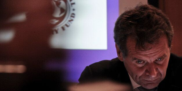 International Monetary Fund (IMF) deputy director, Poul Thomsen, gives a press conference to present...