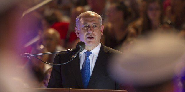 Israeli Prime Minister Benjamin Netayahu delivers a speech during the Graduation Ceremony for Naval Academy...