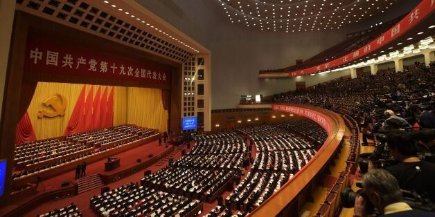 A general view shows delegates attending the opening of the 19th Communist Party Congress at the Great...
