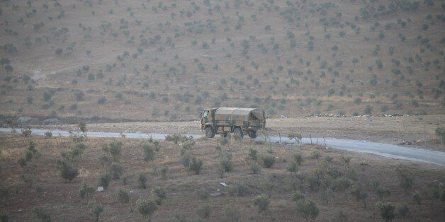 HATAY, TURKEY - OCTOBER 08: Turkish Army's armoured vehicles are seen at Reyhanli border due to the transition...