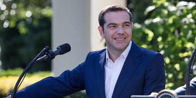 Prime Minister Alexis Tsipras of Greece listens, during his joint press conference with U.S. President...