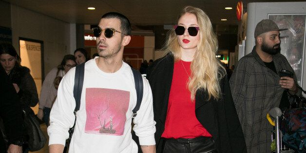 PARIS, FRANCE - MARCH 06:  (L-R) Singer Joe Jonas and actress Sophie Turner arrive at Aeroport Roissy - Charles de Gaulle on March 6, 2017 in Paris, France.  (Photo by Marc Piasecki/GC Images)