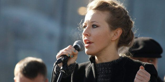Television host and opposition activist Ksenia Sobchak delivers a speech during a demonstration for fair...