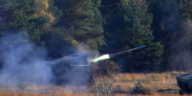 A 'Mars 2' rocket launcher of the German armed forces Bundeswehr fires during the informative educational...