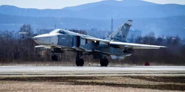 PRIMORYE TERRITORY, RUSSIA - APRIL 7, 2017: A Sukhoi Su-24 attack aircraft during the 2nd qualification...