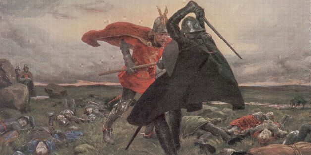 Painting by William Hatherell depicts legendary King Arthur (in red) as he drives a spear through Sir...