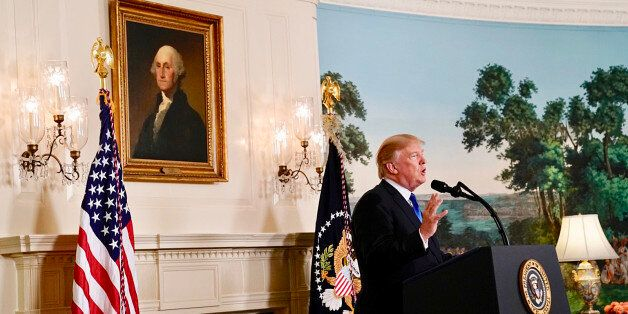 WASHINGTON, DC - OCTOBER 13: President Donald Trump speaks about Iran from the Diplomatic Reception Room...