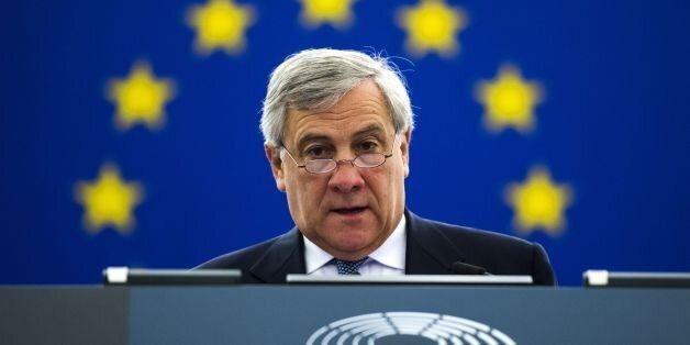 The President of the European Parliament Antonio Tajani attends a debate on the progress of the Brexit...