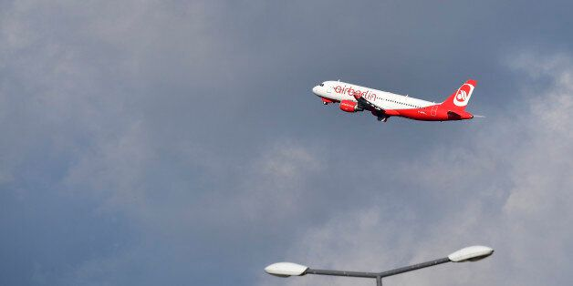 A plane of German airline Air Berlin takes off from Tegel airport in Berlin on October 12, 2017.Germany's...