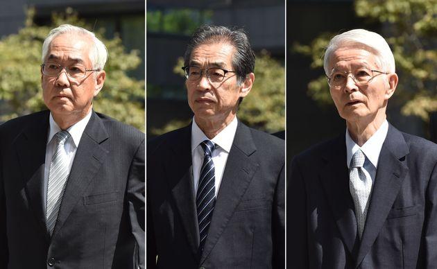 사고 당시 도교전력의 경영진들. 가쓰마타 쓰네히사 전 회장(오른쪽), 다케쿠로 이치로 전 부사장(가운데), 무토 사카에 전