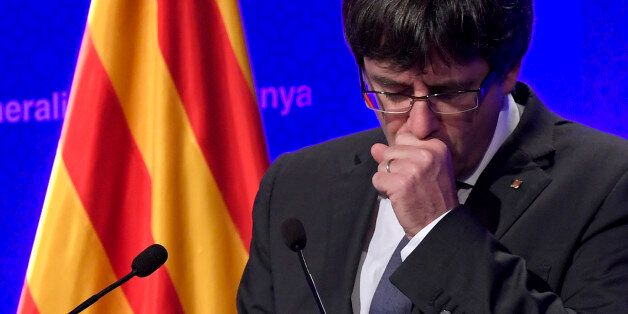 Catalan president Carles Puigdemont gives a press conference in Barcelona, on October 2, 2017.Catalonia's...