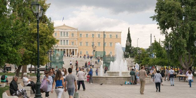 Athens, Greece - May 30, 2015: Every day life in Sintagma Athens with tourists and local