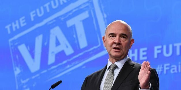 EU Commissioner for Economic and Financial Affairs, Taxation and Customs Pierre Moscovici addresses a...