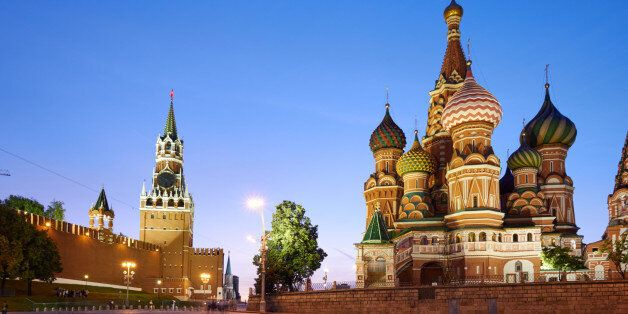 The buildings located on the Red Square: Kremlin wall (at left) and Saint Basil's Cathedral (at right),...