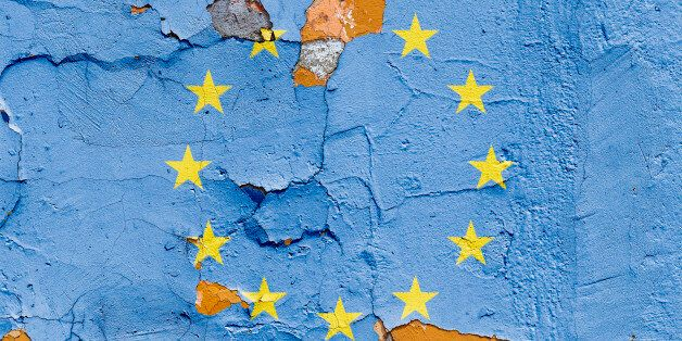 European Union flag painted on a brick wall. Flag of European Union. Textured abstract
