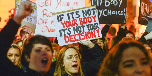 Protesters during a Strike 4 Repeal campaign march held today in Dublin city center, to seek a referendum...