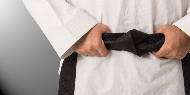 Martial arts black belt of taekwondo