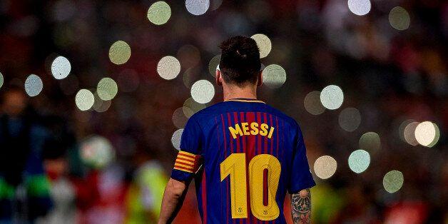 GIRONA, SPAIN - SEPTEMBER 23: Lionel Messi of Barcelona during the La Liga match between Girona and Barcelona...