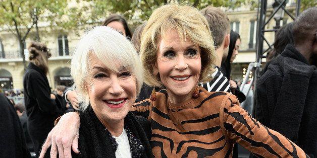 PARIS, FRANCE - OCTOBER 01: Helen Mirren and Jane Fonda attend Le Defile L'Oreal Paris as part of Paris...
