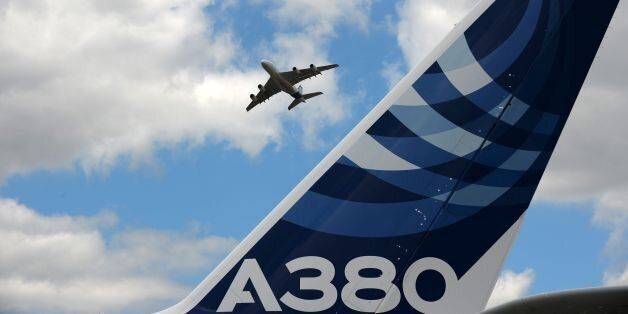 An Airbus A380 performs a flying display at Le Bourget airport, near Paris, on June 24, 2017 during the...