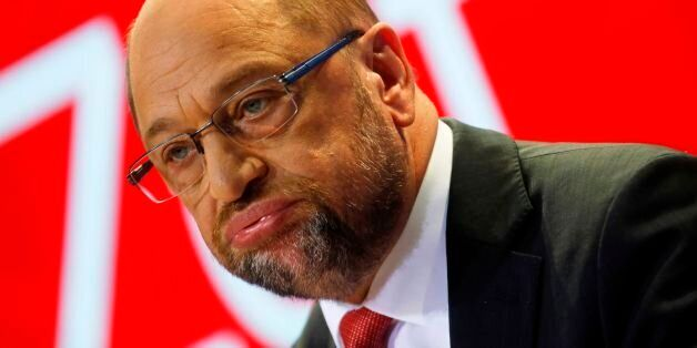 Social Democrats Party (SPD) chairman and candidate for Chancellor Martin Schulz addresses a press conference...