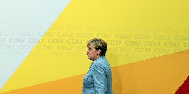 BERLIN, Sept. 25, 2017 : German Chancellor and leader of the Christian Democratic Union (CDU) Angela...