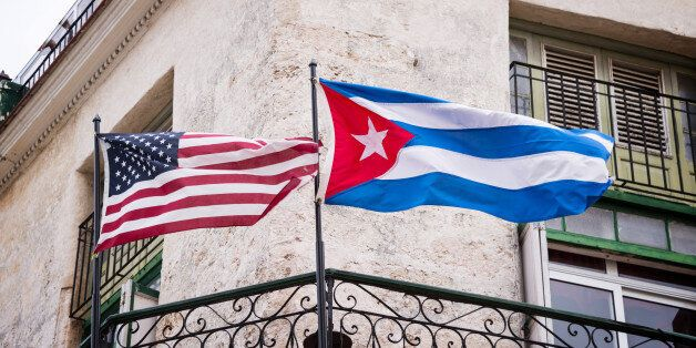 US and Cuban flags side by side in Havana,