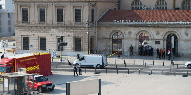 MARSEILLE, FRANCE - OCTOBER 01: Crime scene of Marseille's attack in Front of the Gare Saint Charles...