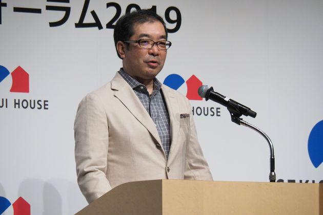 イクメンフォーラム2019に登壇する積水ハウスの仲井嘉浩社長(9月19日撮影)
