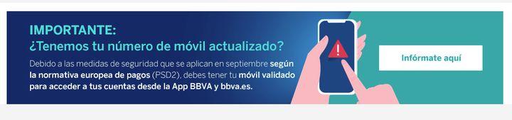Alerta en la página web de BBVA