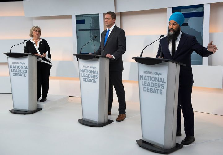 Federal party leaders Elizabeth May of the Greens, Andrew Scheer of the Tories and Jagmeet Singh of the NDP appear at the Maclean's/Citytv debate on Sept. 12, 2019.