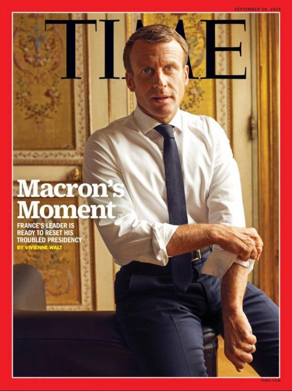 Emmanuel Macron en une de l'édition internationale du magazine