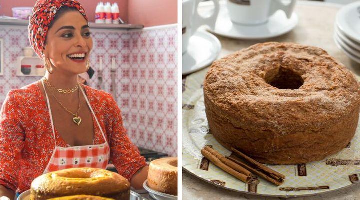 A boleira Maria da Paz, interpretada por Juliana Paes, e o bolo feito pela Sodiê.