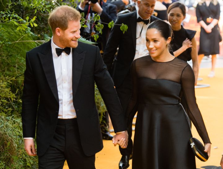 "The Duke of Sussex and Meghan, Duchess of Sussex attend ""The Lion King"" premiere at Leicester Square on July 14 in London.&nb"