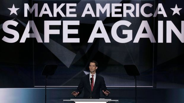 U.S. Senator Tom Cotton of Arkansas speaks about military issues and his military service at the Republican National Convention in Cleveland, Ohio, U.S. July 18, 2016. REUTERS/Mike Segar