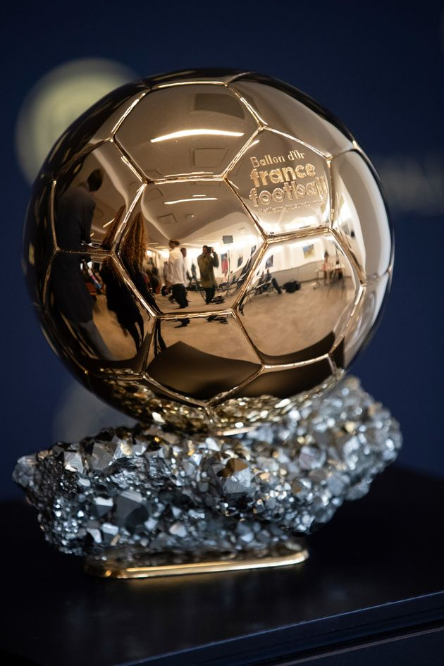 The Ballon d'Or trophy is displayed during a press conference to present the new Ballon d'Or trophy,...
